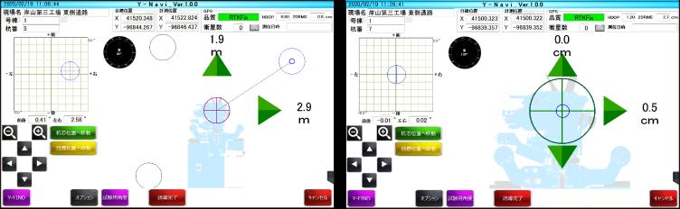 誘導画面では、施工機をグラフィック表示することで、現在位置と目標位置までの関係がイメージしやすくなりスムーズな誘導が行えます。